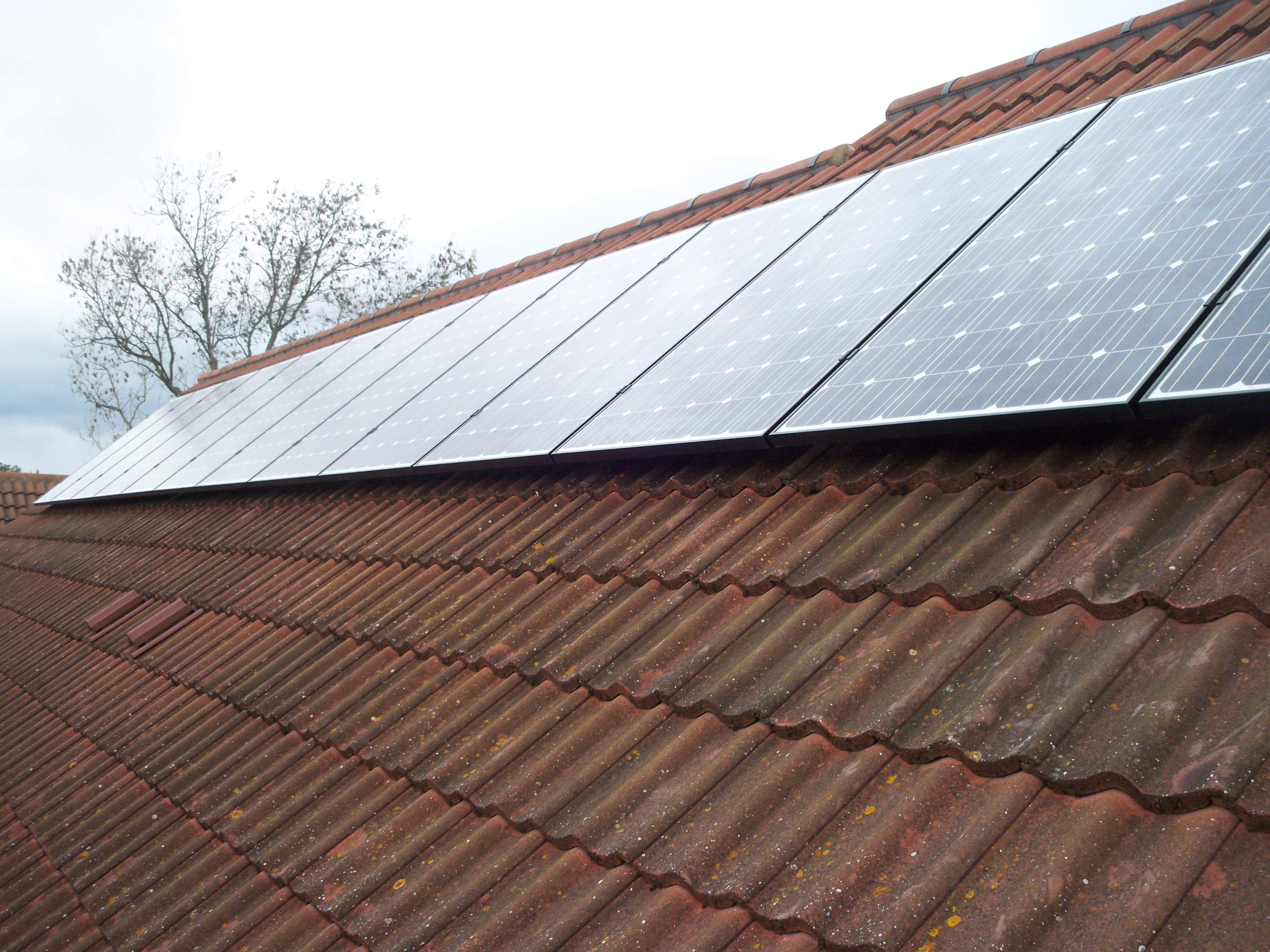 Roof side 1 after installation of solar panels