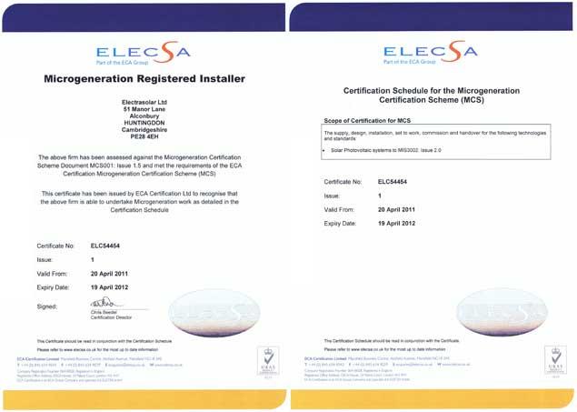 Electrasolar MCS Solar PV certificate