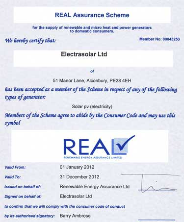 REAL Solar PV certificate