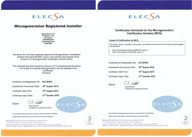 MCS Solar PV Heat Pump Certificate
