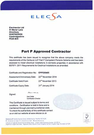 Part P approved Certificate