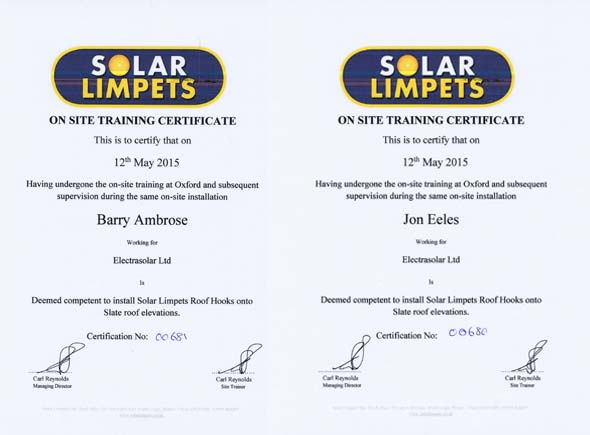 Solar Limpet certification slate roof